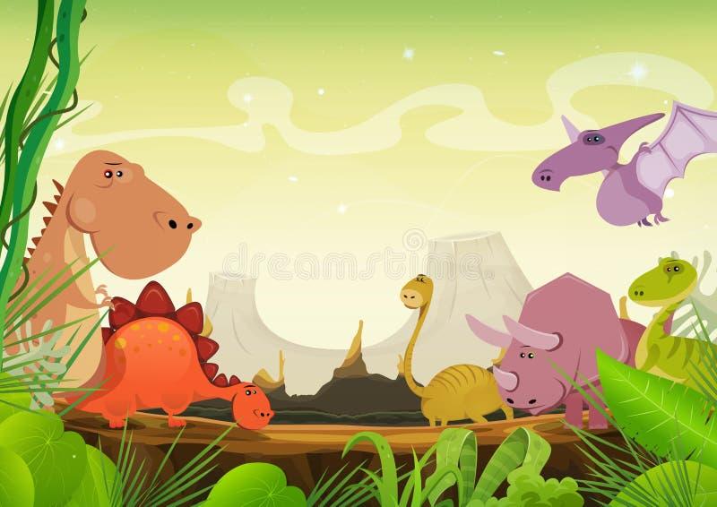 Paisagem pré-histórica com dinossauros ilustração do vetor