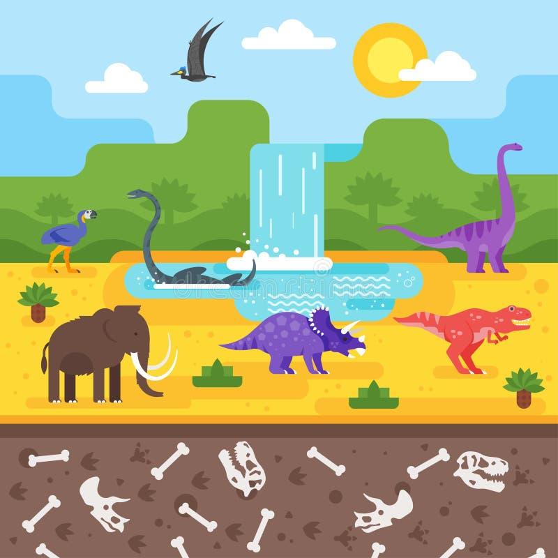 Paisagem pré-histórica com dinossauros ilustração royalty free