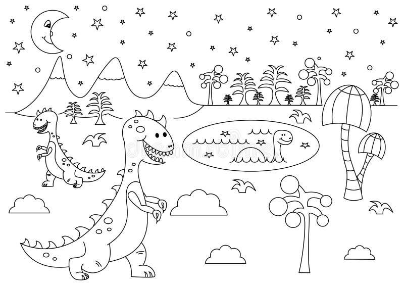 Paisagem pré-histórica da noite com os dinossauros engraçados dos desenhos animados - tiranossauro e Brontosaurus ilustração royalty free