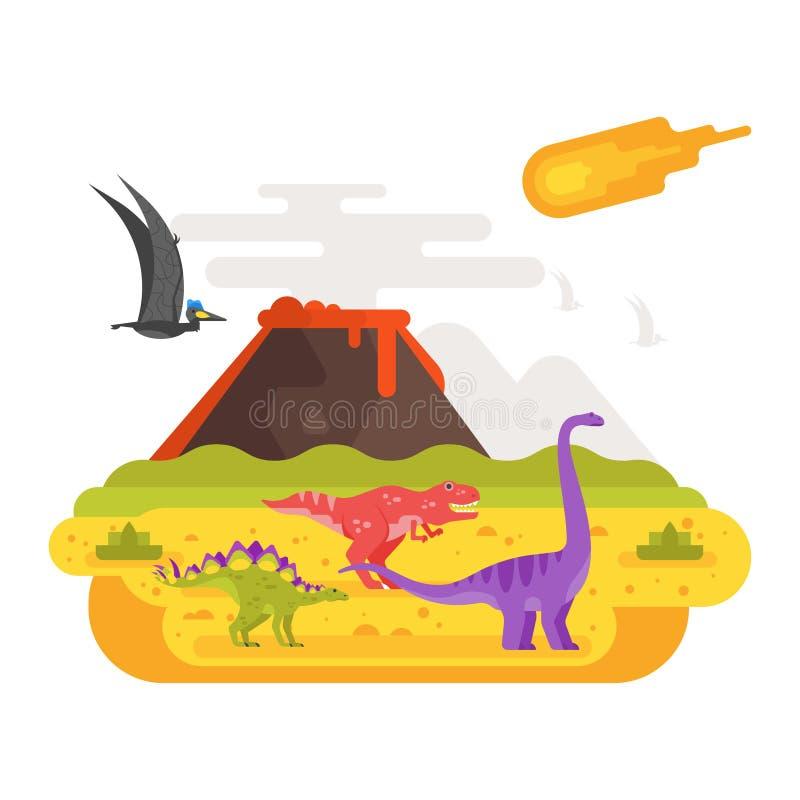 Paisagem pré-histórica e vulcão com dinossauros ilustração do vetor