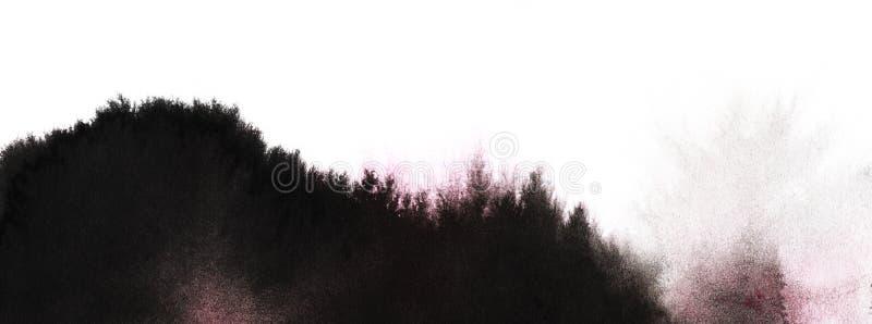 Paisagem preto e branco abstrata Overgro da silhueta das montanhas imagem de stock