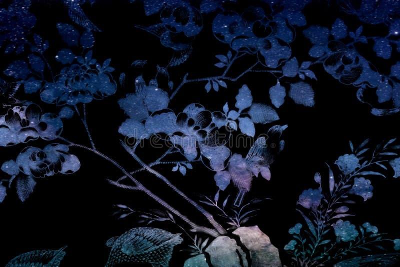 Paisagem preto e branco colorida da floresta da planta das flores e da árvore da textura bonita do sumário no Polaris da escuridã ilustração do vetor