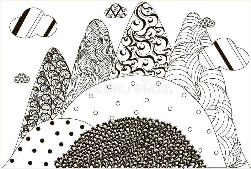 Paisagem preto e branco tirada mão da montanha de Zentangle, anti esforço ilustração stock