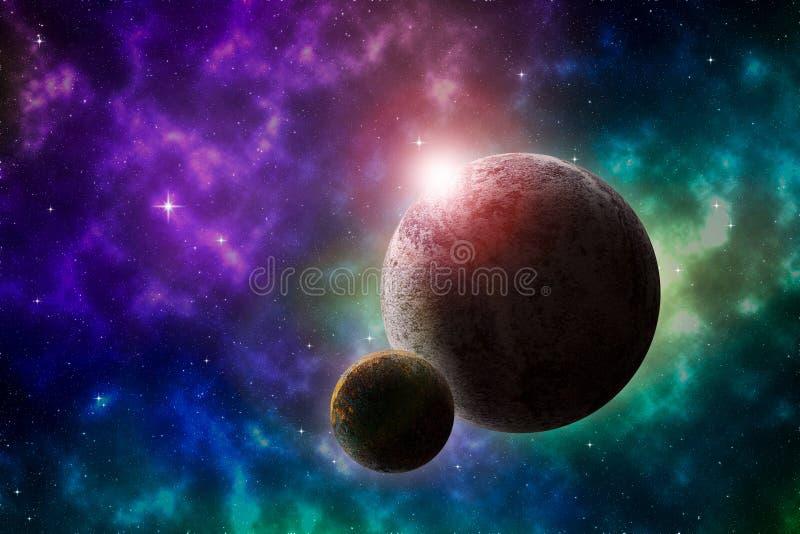 Paisagem profunda do espaço com planetas e nebulosa ilustração stock