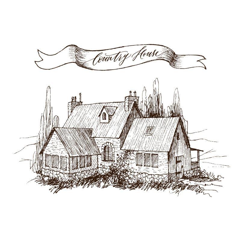 Paisagem rural com casa da quinta e o jardim velhos Ilustração tirada mão no estilo do vintage Fita retro com uma inscrição ilustração do vetor