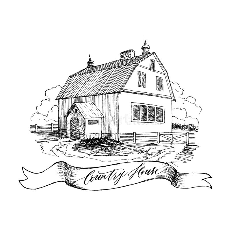 Paisagem rural com casa da quinta e o jardim velhos Ilustração tirada mão no estilo do vintage Grande celeiro residencial com a ilustração do vetor