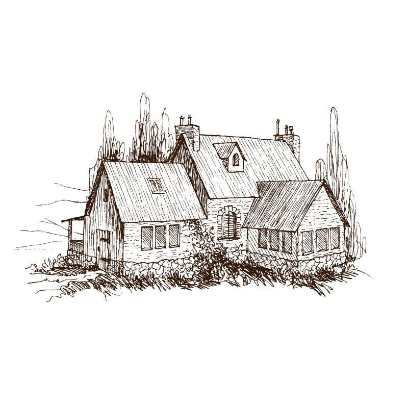 Paisagem rural com casa da quinta e o jardim velhos Ilustração tirada mão no estilo do vintage Projeto do vetor ilustração stock