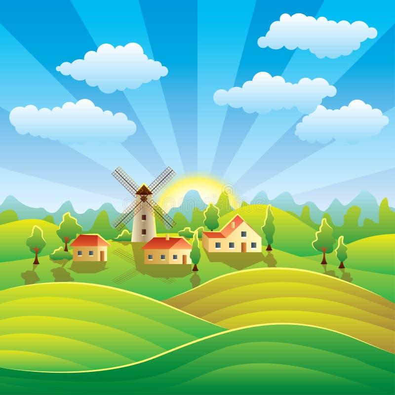 Paisagem rural com casas e campos do verão ilustração do vetor