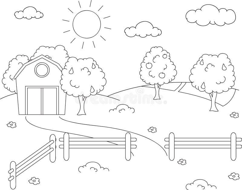 Paisagem rural com celeiro, cerca, campos e árvores de fruto cor ilustração do vetor