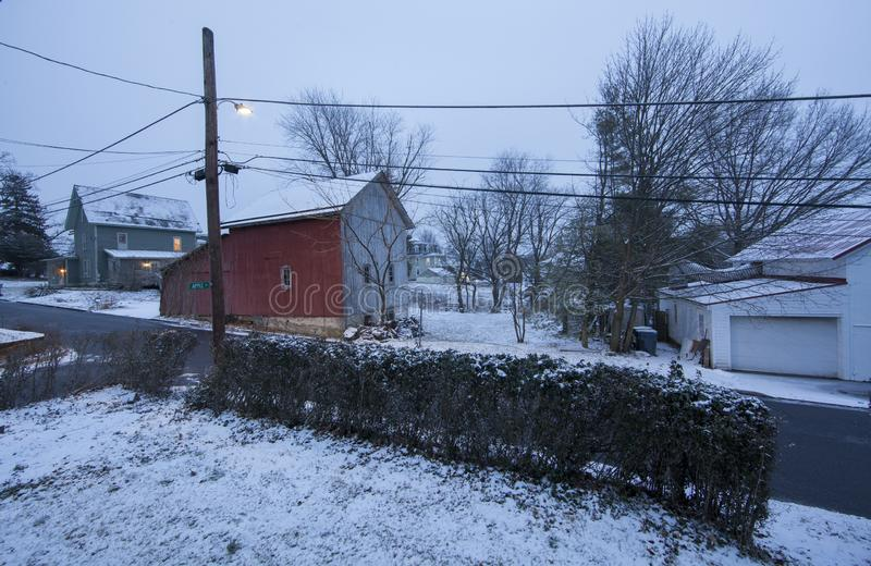 Paisagem rural com neve em Bucks County fotos de stock royalty free
