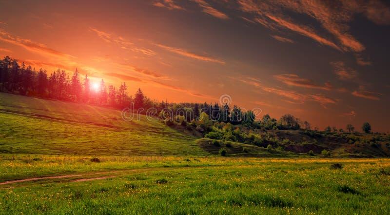 Paisagem rural com um monte Prado verde sob o por do sol, céu colorido com cena dramática da manhã das nuvens fotografia de stock