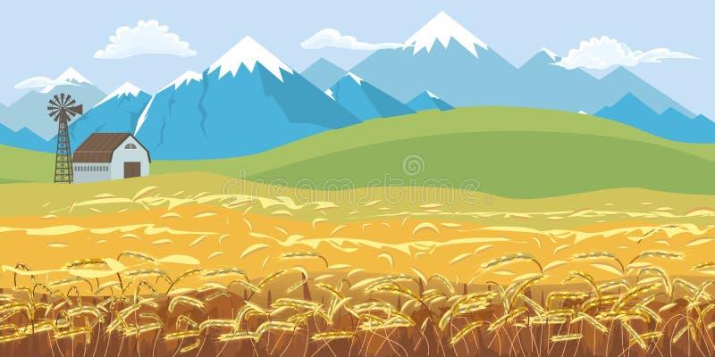 Paisagem rural da exploração agrícola, alvorecer acima dos montes com campo de trigo e fundo máximo nevado das montanhas Ilustra? ilustração do vetor
