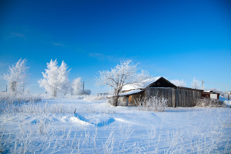 Paisagem rural do inverno. imagens de stock royalty free