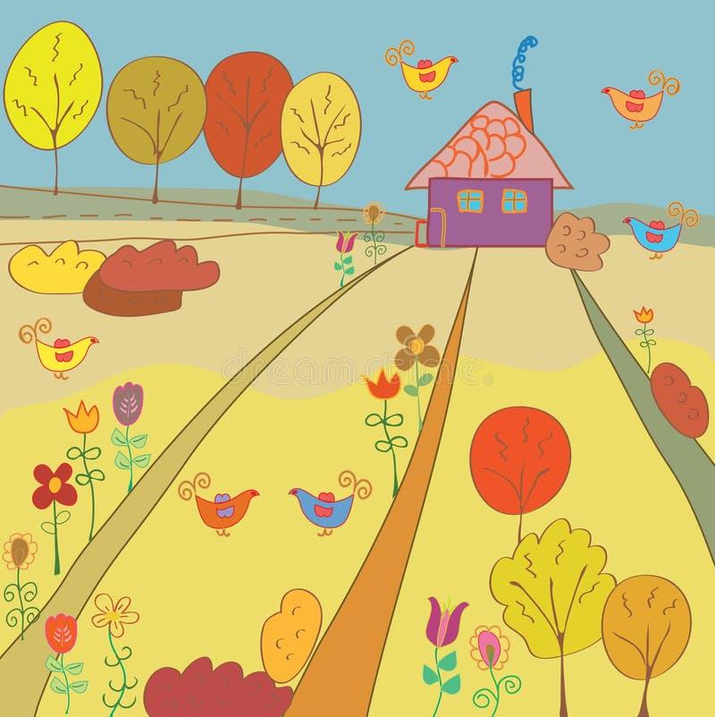 Paisagem rural do outono ilustração stock