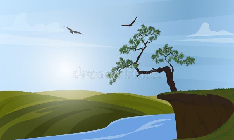 Paisagem rural do verão, alvorecer acima dos montes ?rvore que cresce na borda de um penhasco Vista do penhasco no rio e ilustração stock