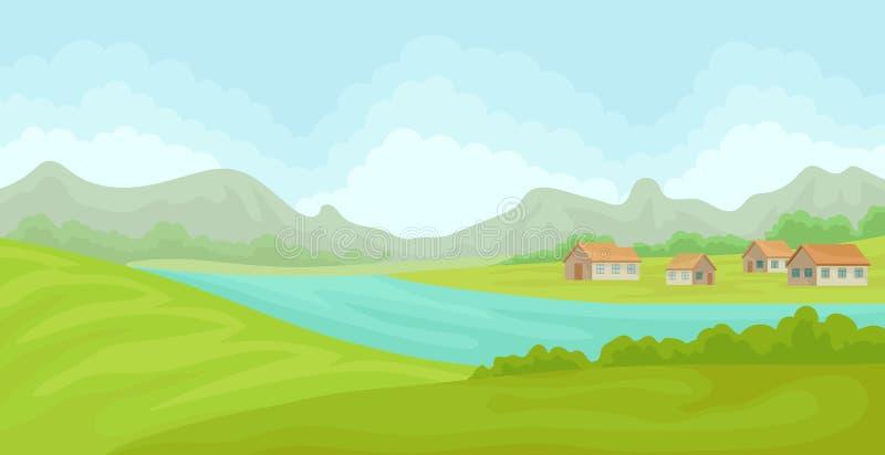 Paisagem rural do verão com casas e rio, campo com grama verde, agricultura e cultivo da ilustração do vetor na ilustração stock
