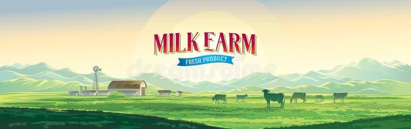Paisagem rural do verão com vacas e exploração agrícola ilustração royalty free