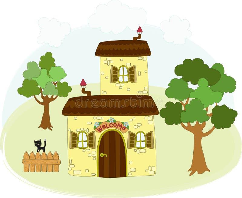 Paisagem rural dos desenhos animados ilustração royalty free