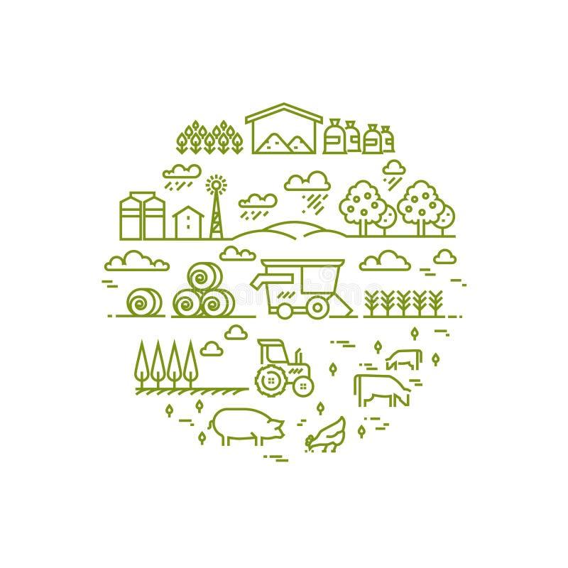 Paisagem rural e agricultura que cultivam a linha fina ícones ilustração stock