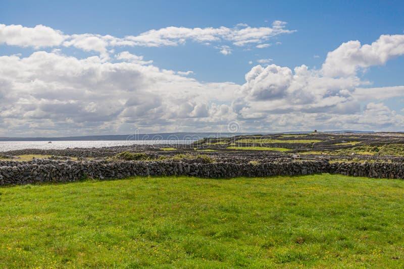 Paisagem rural irlandesa com cercas de calcário na ilha de Inis Oirr imagem de stock royalty free