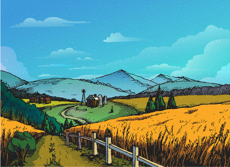 Paisagem rural no estilo gráfico, mão tirada e convertida à ilustração do vetor ilustração stock