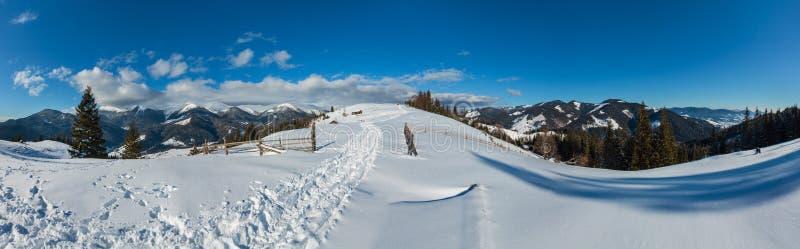 Paisagem rural Ucrânia da montanha pitoresca da manhã do inverno, montanhas Carpathian fotos de stock