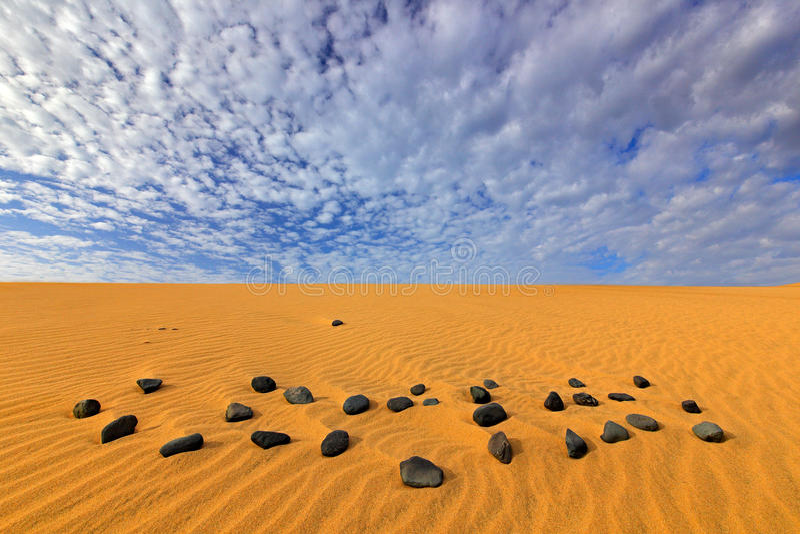 Paisagem seca do verão em África Pedra preta do seixo Ondas de areia na natureza selvagem Dunas Maspalomas, Gran Canaria, Espanha fotos de stock royalty free