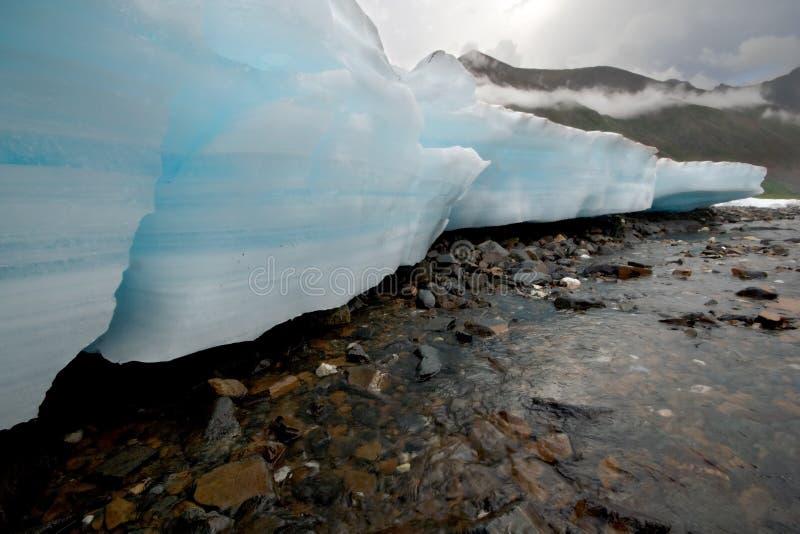 Paisagem selvagem de Rússia. Blocos da geleira do gelo, rio. imagens de stock