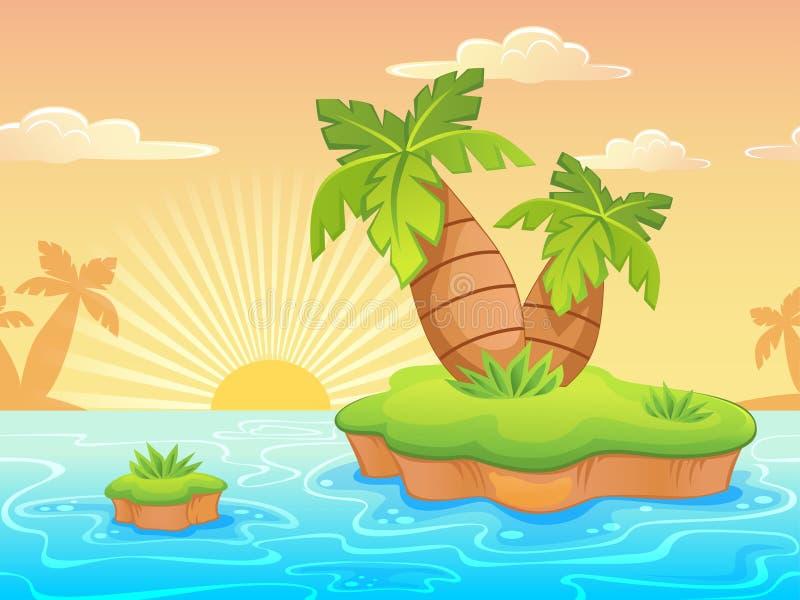 A paisagem sem emenda com desenhos animados abandonou a praia e as palmeiras ilustração do vetor