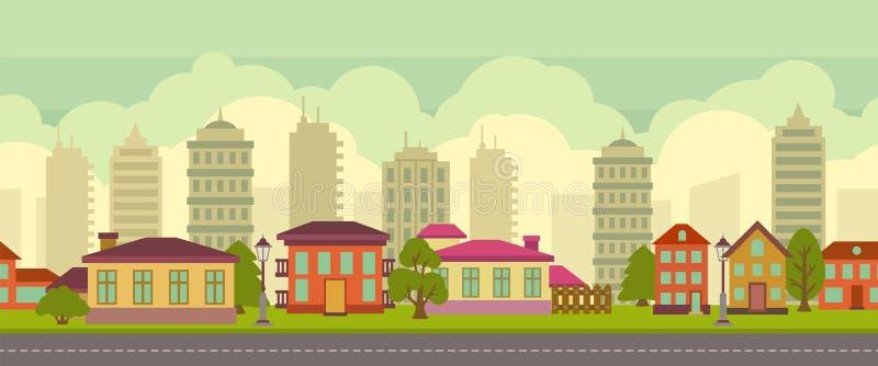 Paisagem sem emenda da cidade no estilo liso ilustração stock