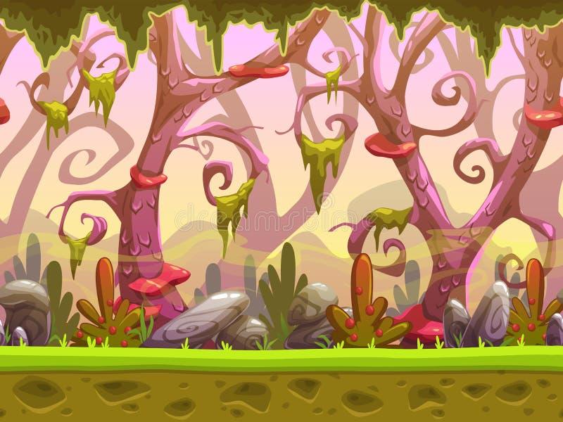 Paisagem sem emenda da floresta dos desenhos animados da fantasia ilustração do vetor