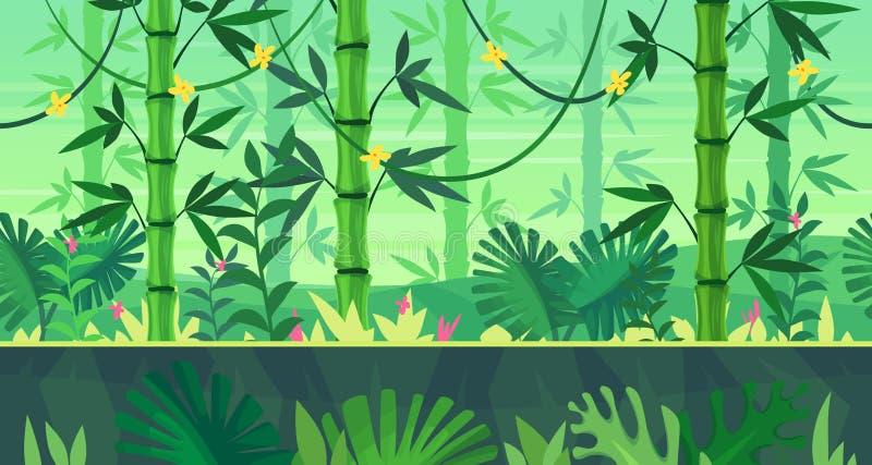 Paisagem sem emenda da natureza dos desenhos animados com selva ilustração stock