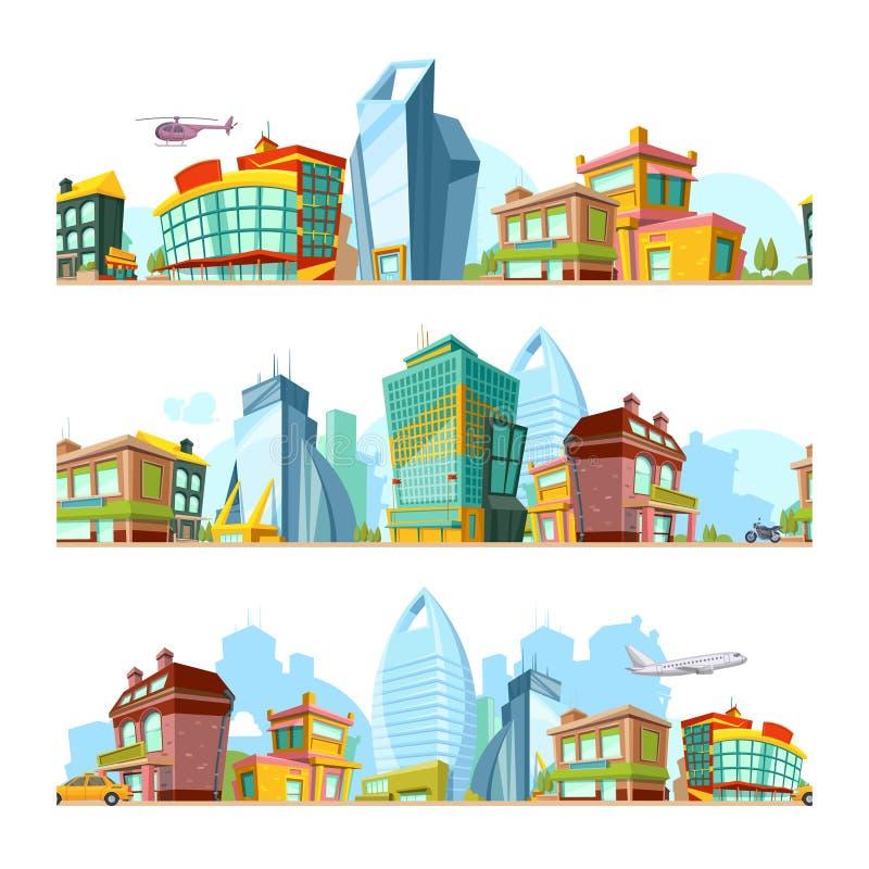 Paisagem sem emenda urbana Fundos da cidade com teste padrão panorâmico da cidade da arquitetura da cidade moderna das construçõe ilustração stock