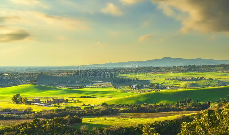 Paisagem solar em Maremma Colinas e ciprestes Bibbona,Toscana, Itália fotografia de stock