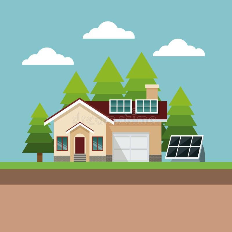 Paisagem suburbana do painel solar da casa ilustração stock