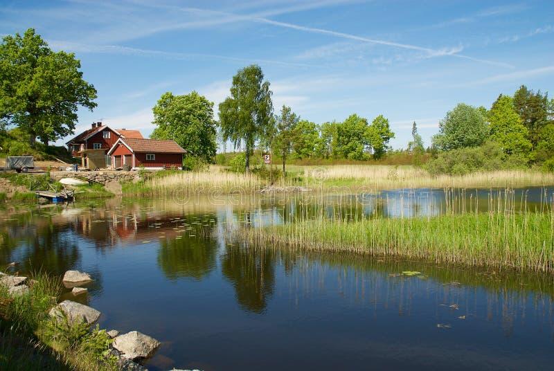 Paisagem sueco na costa oeste, Suécia foto de stock