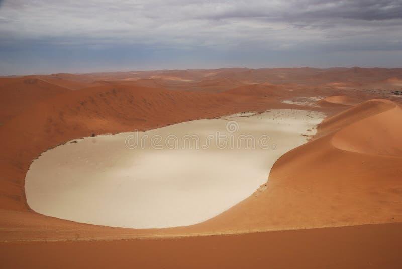 Opinião de Deadvlei da duna grande do paizinho, Sossusvlei, Namíbia imagem de stock