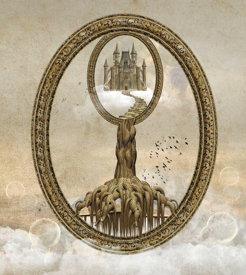 Paisagem surreal da fantasia ilustração royalty free