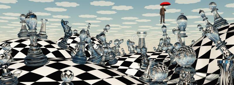 Paisagem surreal da xadrez ilustração royalty free