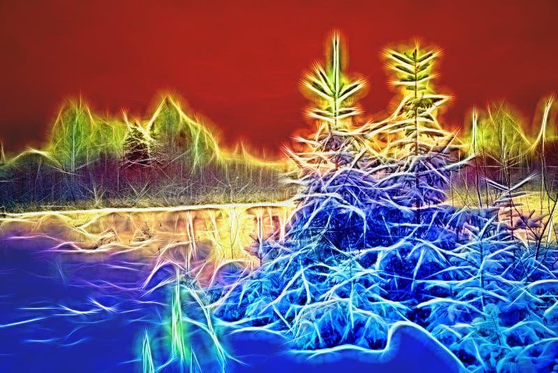 Paisagem surreal do inverno com árvores de Natal Martian Sunset e ilustração stock