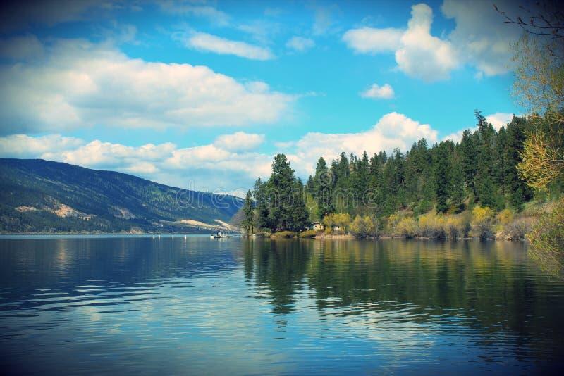 Paisagem tranquilo cênico do lago com as árvores que refletem na água fotos de stock royalty free