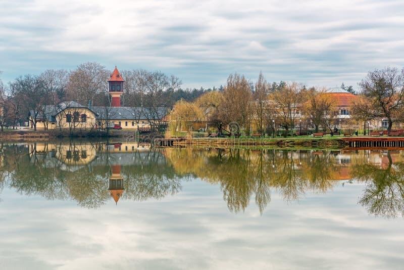 A paisagem tranquilo com lago, casas, o céu nebuloso, e as árvores refletiu simetricamente na água Nyiregyhaza, Hungria fotos de stock royalty free