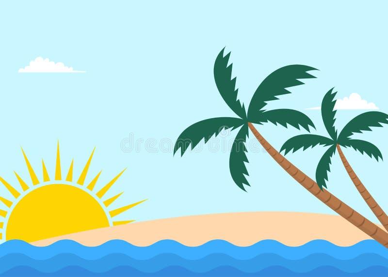 Paisagem tropical da praia com palmeiras e sol ilustração royalty free