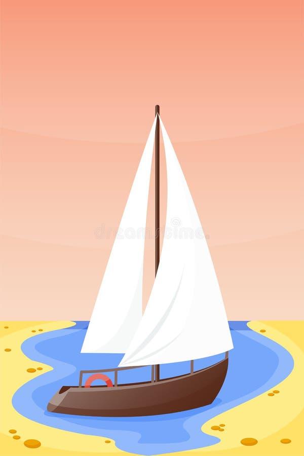 Paisagem tropical da praia da natureza das férias do barco das horas de verão da ilustração do vetor da lagoa dos feriados da ilh ilustração do vetor
