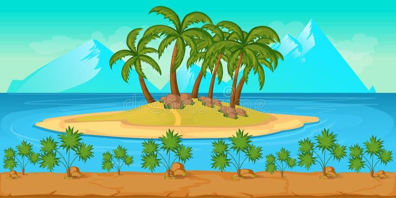 Paisagem tropical da praia para o nIllustration do jogo de UI de um fundo do oceano do verão dos desenhos animados ilustração stock