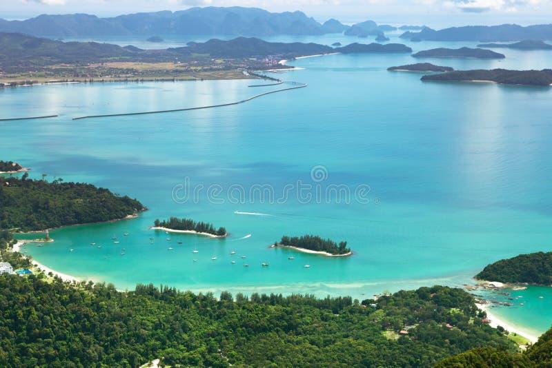 Paisagem tropical do litoral de Langkawi fotos de stock