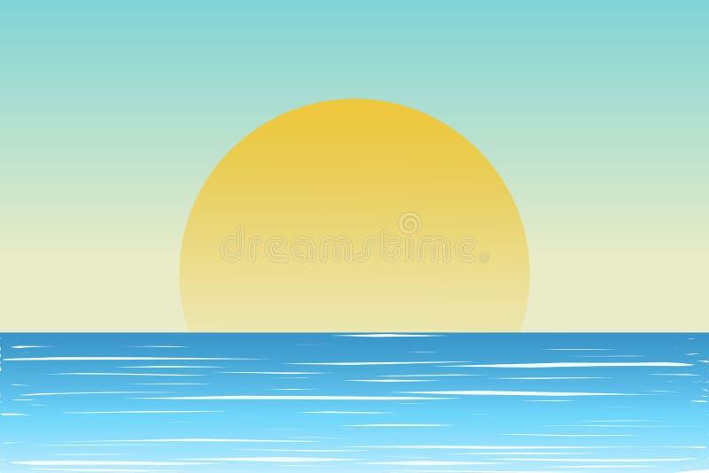 Paisagem tropical Paisagem do mar Fundo do verão Palmeiras mostradas em silhueta de encontro ao céu azul Ilustração do vetor ilustração stock