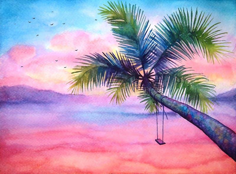 Paisagem tropical do por do sol da aquarela com a palma fotografia de stock