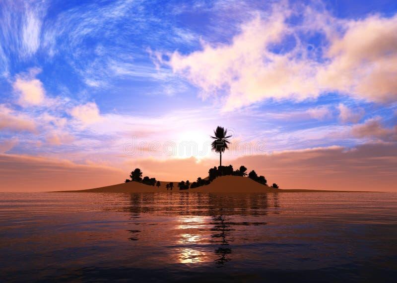 Paisagem tropical, praia com as palmeiras no por do sol fotos de stock royalty free