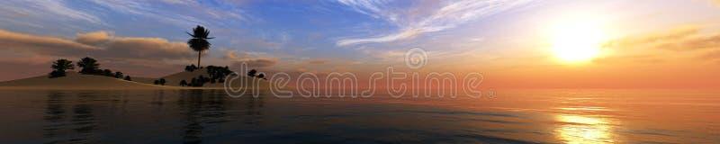 Paisagem tropical, praia com as palmeiras no por do sol imagens de stock royalty free